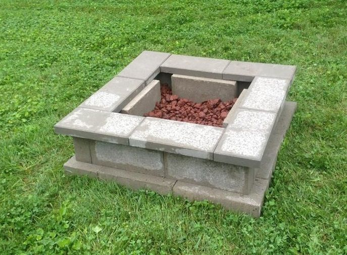 Cinder block fire pit square