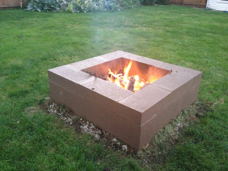 Square cinder block fire pit
