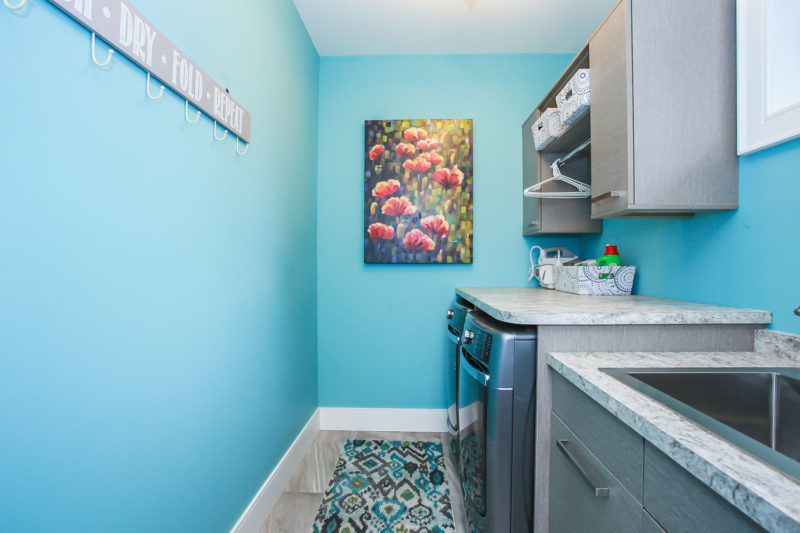 Blue laundry room