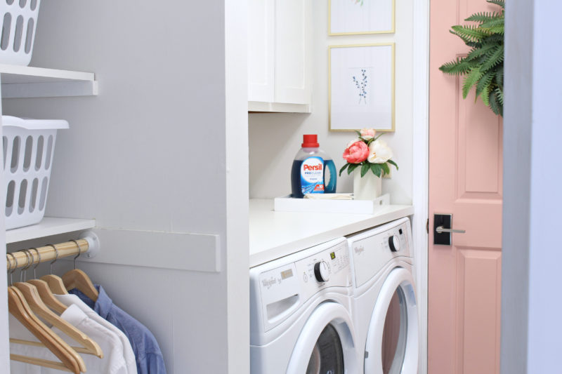 Hanging and folding areas in laundry room