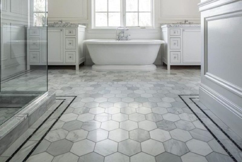 Tile floor bathroom