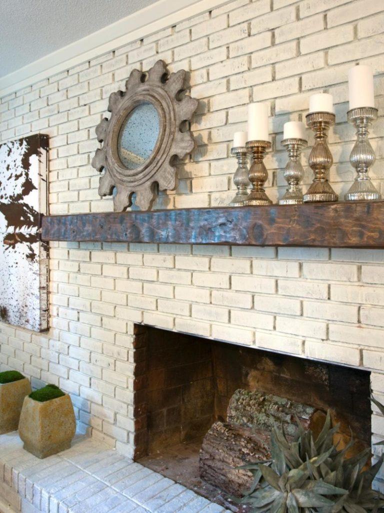 Repainted Brick Wall in a Rustic Room