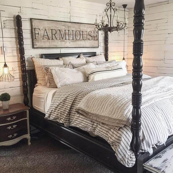 Ebony and Ash Palatial Farmhouse Bedroom