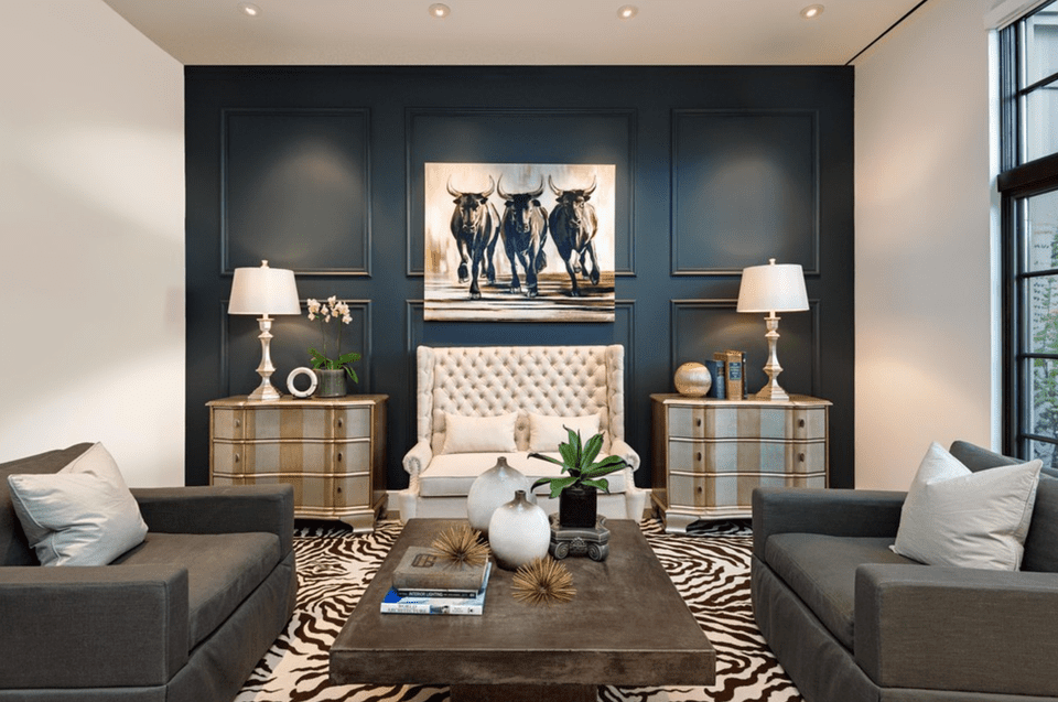 Deep Blue Living Room Accent Wall