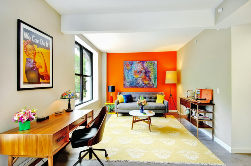 Orange Living Room Accent Wall
