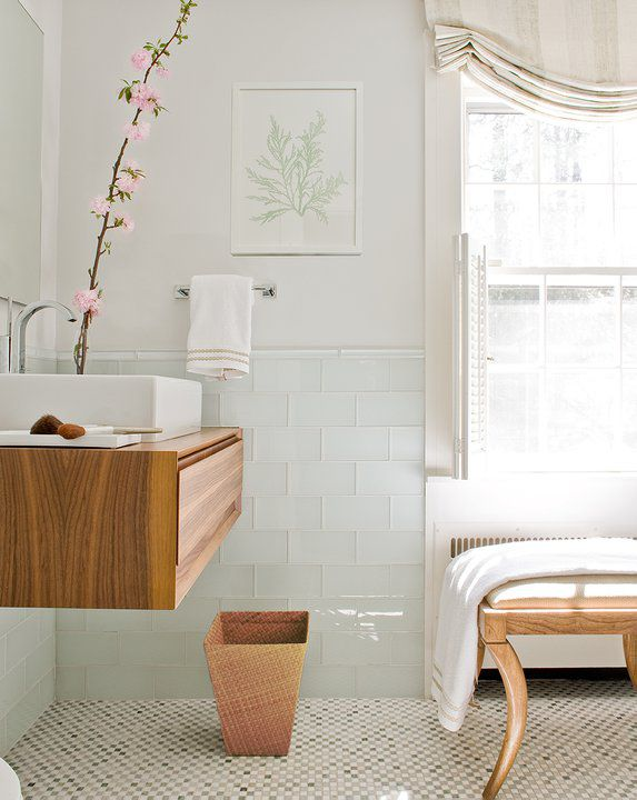 Scandinavian Bathroom with Glass Tile