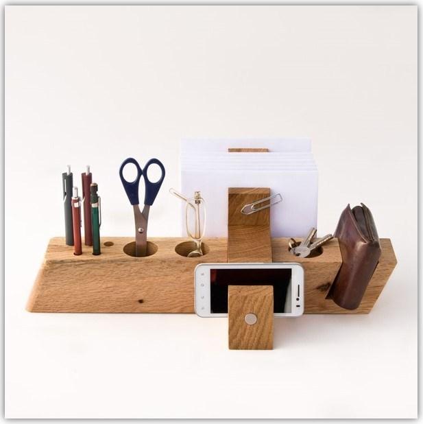 DIY Wood Block Desk Organizer Ideas